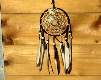 Dream catcher, handmade dreamcatcher, black and white, magpie feathers, wall decor / actual 35 cm