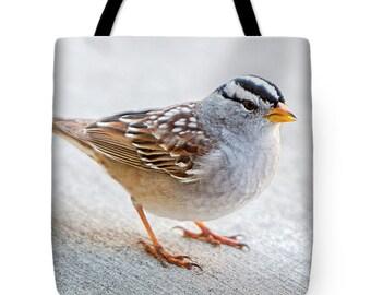 White Crowned Sparrow Designer Tote Bag