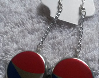 Dangle Pepsi Bottle Cap Earrings