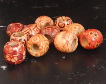 5 Tibetan printed wood beads