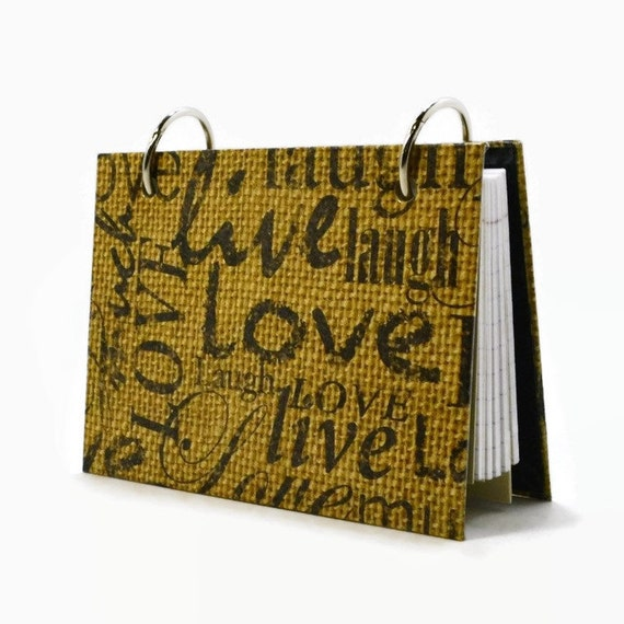 3 x 5 or 4 x 6 index card binder stamped words on burlap