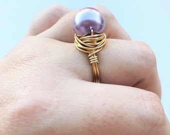 Gold Pearl Ring- Silver Pearl Ring- Purple Pearl Ring- Pearl Jewelry- Pearl Jewellery- Pearl Ring- Pearl Purple Ring- Purple Ring- Pearl