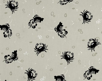 Crabs and Lobsters on Tan from Andover's Tides Collection By Jane Dixon