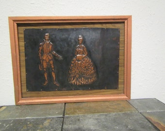 """vintage 3D Copper Art  """"  A GENTLEMAN and A LADY """" roughly framed 14 3/4 in. by 10 3/4 in frame"""