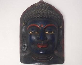 Beautiful Vintage Hand Crafted Buddha Mask Himalayan folk Art ॐ