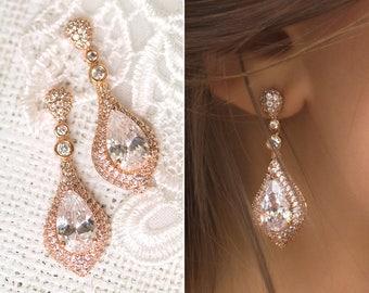 Bridal Jewelry Rose Gold Earrings Wedding Jewelry Long Earrings Drop Earrings Teardrop Earrings Bridal Accessories Crystal Earrings E069-RG