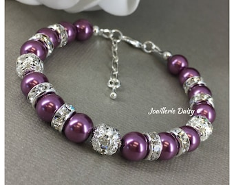 Plum Bracelet Sangria Wine Bridesmaid Bracelet Grape Purple Bracelet Gift for Her Best Friend Sister Moms Wedding Jewelry Maid of Honor Gift