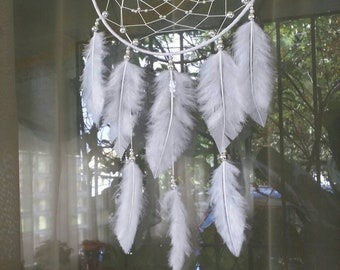 "Dreamcatcher 7 ""-White & Silver-JAIAWEL Handmade Crafts 46."
