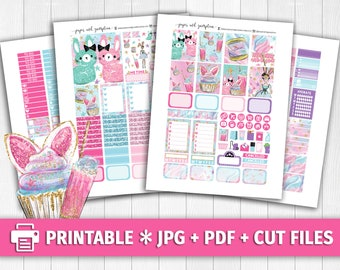 SWEET LIFE Candy Printable Planner Stickers/for use with Erin Condren/Weekly Kit/Cutfiles/Easter Bunny Spring Cotton Shower Cupcake Glitter