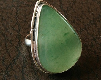 Exquisite Green onyx ring, #1089, Mosaic stone ring- Ethnic ring - Boho ring