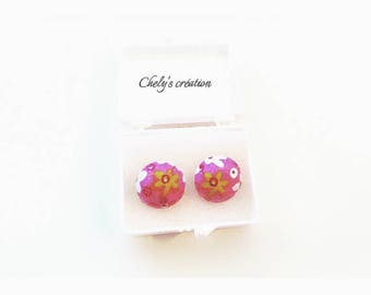 (chip) cabochon earrings floral fabric / / medium silver / / made in france