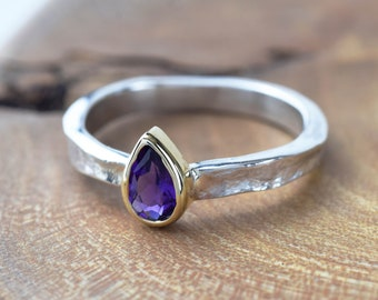 Amethyst Ring | February Birthstone Ring | Amethyst Silver Ring | Tear Drop Amethyst | Pear Shaped Ring | Mixed Metals Ring | Alison Moore