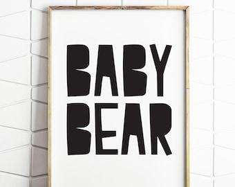 baby bear art, bear printable, bear wall art, instant download, digital wall decor, baby bear decor