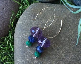 Amethyst Lapis and Malachite Stacked Stones on Sterling Silver Hoop Ear Wires