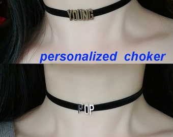 Custom Choker, Personalized Choker, Name Choker, Velvet Choker, Leather Choker, Letter Choker, Women Gift, Women Choker,Bridesmaid Gifts