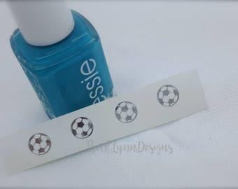 Soccer Ball Nail Decal | Silver Chrome Monogram | Tiny Monogram | Nail Art | Sunglasses Decal | Custom Summer Nails | Sports Manicure