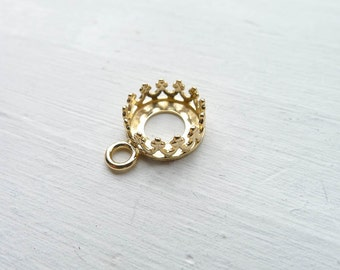Gold Crown Bezel Drop Link 8mm Round Gallery Wire Component Gold Plated Brass (CR922066)