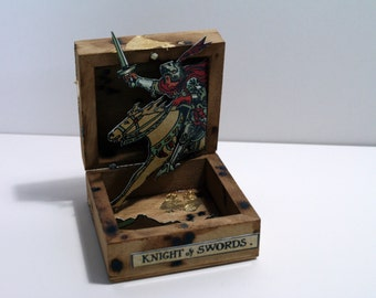 Mixed Media assemblage - hand stained wooden box with tarot card images and gold leaf detail