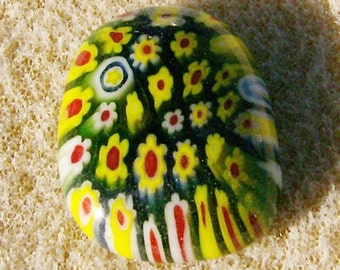 Fused Glass Cabochon - Handmade Yellow, Green & Red Flowers Gone Wild by JewelryArtistry - DC428