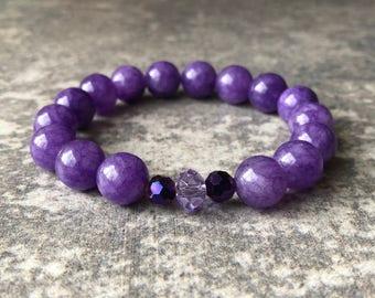 Purple Mountain Jade Bead Bracelet / Purple Bead Bracelet / Bead Bracelet / Purple Bracelet / Purple Stretch Bracelet / Purple Beads