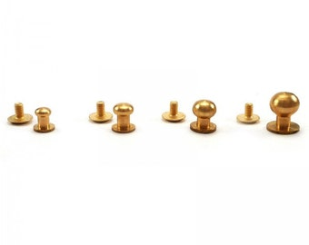 50 psc.  Sam brown browne screw studs - solid Brass different sizes, 5.5mm, 6.5 mm, 8 mm, 10 mm
