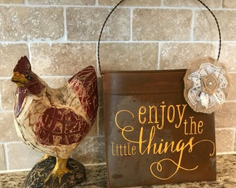 "Rustic Hanging Wall Pocket ""Enjoy the Little Things"""