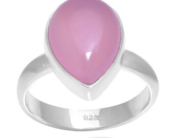 Pear Shape Rose Chalcedony Gemstone 925 Silver Ring Jewelry