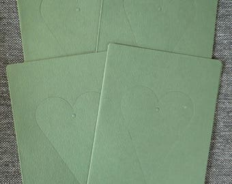 Set of 4 cards with heart 109 x 156 mm Green tree window mat