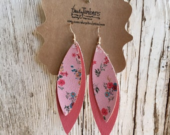 Pink Floral Layered Earrings