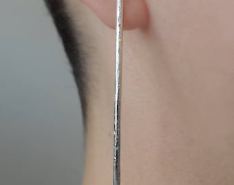 Long Statement Bar Studs - Rustic - Earrings - Sterling Silver