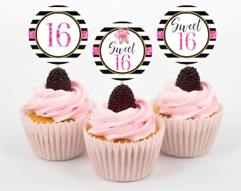 Sweet 16 Cupcake Toppers, Sweet Sixteen Cupcake Toppers, Sweet Sixteen Birthday, Sweet 16 Birthday, Cupcake Toppers, Instant Download