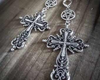 Earrings silver pentacle ♠ 666 Sanctus Dei 666 ♠