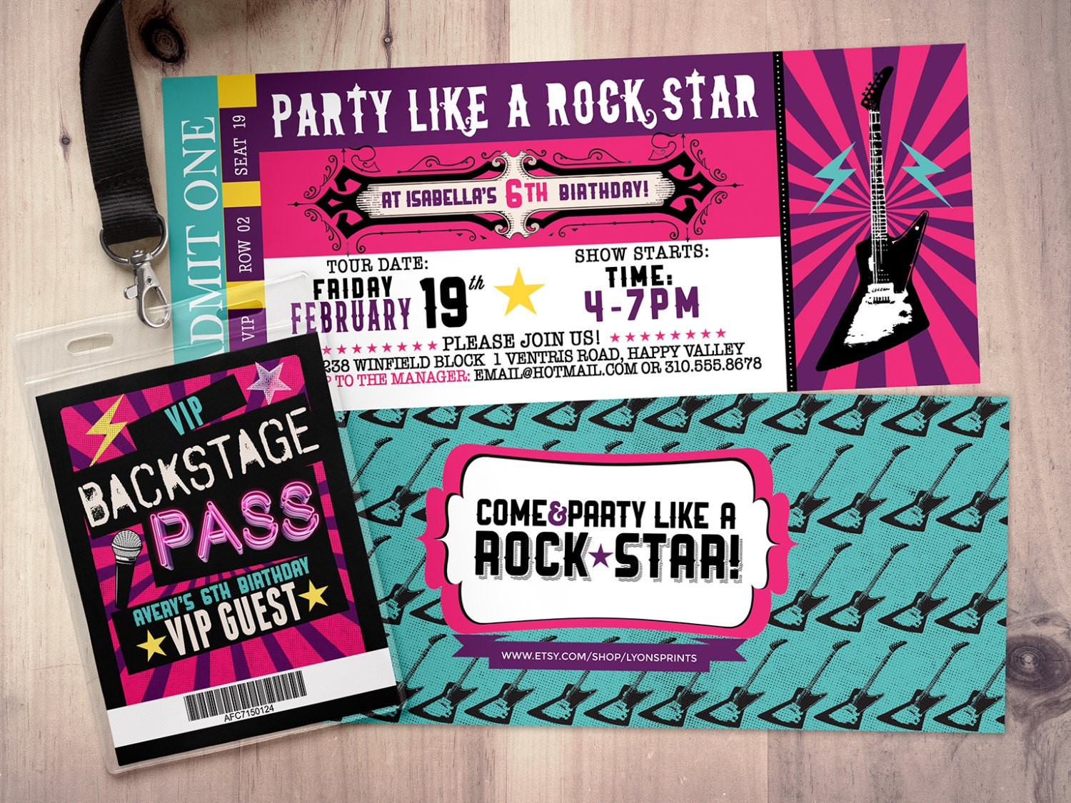 Pop star Rock Star concert ticket birthday party invitation Music