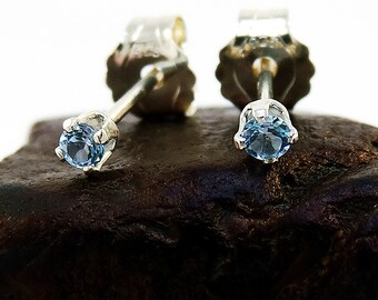 Swiss blue topaz earring, round earrings blue topaz, sterling silver stud earrings 2 mm