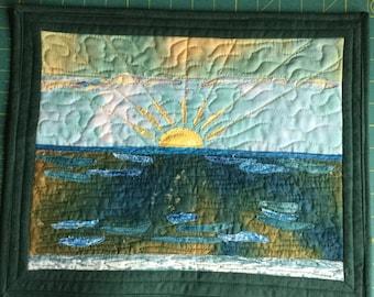 Golden sunrise art quilt wall hanging