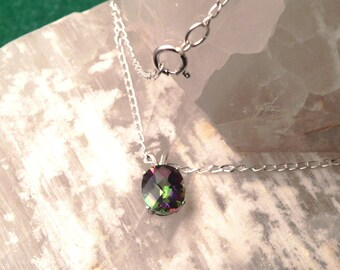 """11x9mm Mystic Topaz & Sterling Silver 18"""" Necklace"""