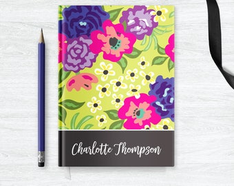 Custom Notebook Journal for Her, Personalized Notebook, Floral Journal Diary Gifts for Women Friends, Personal Journal Mothers Day Gift
