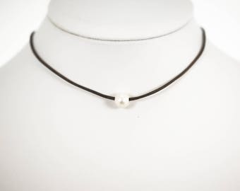 Pearl Leather Choker, Layering Necklaces, Pearl Necklaces