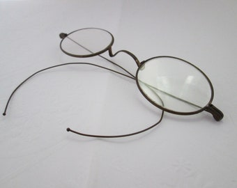 Genuine Antique Oval Eyeglasses with Gold Wire Frames Oval Glasses Gold Wire Eyeglasses Antique Glasses Antique Eyewear gold wire frame