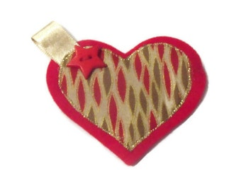Christmas Heart Brooch. Red Jacket Pin. Womens Accessory. DISCOUNTED PRICE