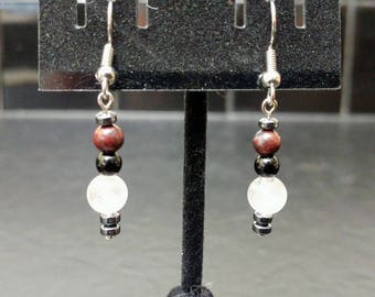 Unique Rose Quartz and Jasper Crystal Dangle Earrings // Warm and Comforting // Stylish and Sleek // Pink, Black & Red