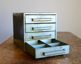Vintage Metal Storage Cabinet with Drawers .. Industrial Decor