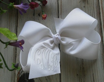 Extra Large Custom Boutique Monogrammed Three Initial Hairbow, Personalized, 6 Inch Monogrammed Hair Bow, Flower Girl Hair Bow