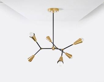 Modern Geometric Tree Branch Chandelier Gold & Black Mix Pinwheel Cone Bulb Sputnik Mid Century Semi Flush Industrial 6 Light UL Listed