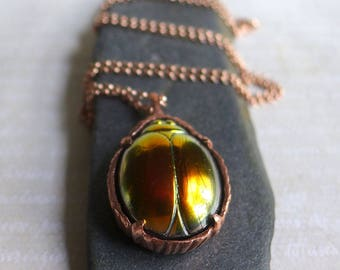 Pink Scarab Jewelry, Glass Scarab Beetle Necklace, Iridescent Pink Purple Yellow Glass Scarab Beetle Pendant Copper Bezel Rose Gold Chain