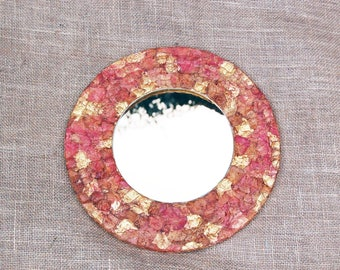 Rustic Boho Wall Hanging Mirror, Upcycled Pink and Gold Mirror, Round mirror, Decoupage mirror, Upcycled mirror, Boho mirror, Rustic mirror.