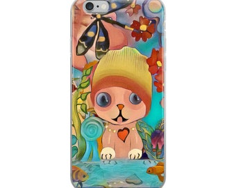 Pink Hipster Cat iPhone Case