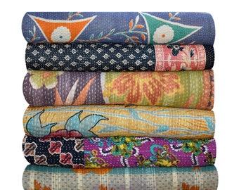 05 pcs lot (free shipping) special Handmade Kantha Quilt, Indian Saree Throw, Reversible Kantha Quilt, Vintage Kantha Throw