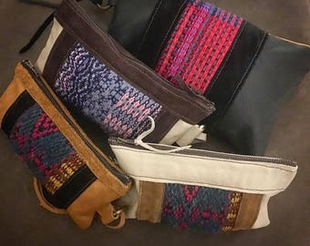 Leather Clutches and Cases with Hand Woven Panels