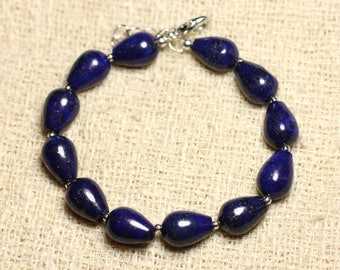 Bracelet 925 sterling silver and stone - Lapis Lazuli drops 12mm